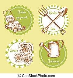 Sketch set of gardening logo