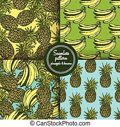 Sketch set of patterns with pineapple and banana