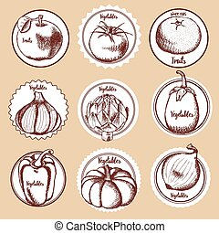 Sketch set of vegetable logos