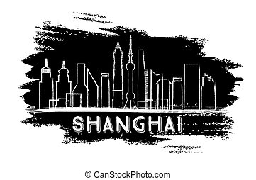 sketch., shanghai, silhouette., horizon, dessiné, main