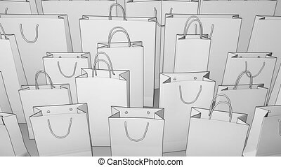 Sketch shopping bags. Seamless loopable 4K clip, ProRes -...