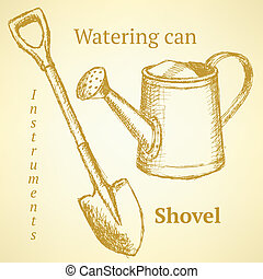 Sketch shovel and watering can, vector background - Sketch...