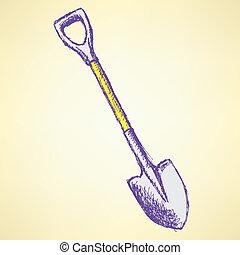 Sketch shovel, vector vintage background