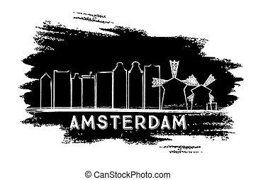 sketch., silhouette., スカイライン, アムステルダム, 引かれる, 手