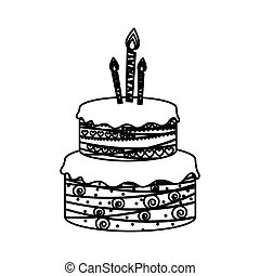 sketch silhouette birthday cake two floors with candles