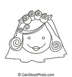 sketch silhouette cartoon face bride with veil