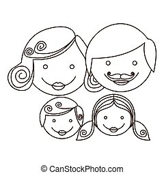 sketch silhouette cartoon family faces