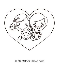 sketch silhouette cartoon heart with family faces