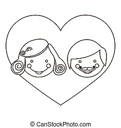 sketch silhouette cartoon heart with parents face