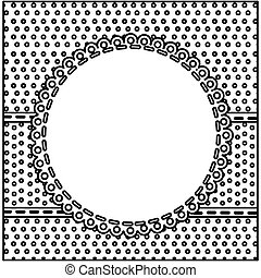 sketch silhouette decorative frame with pattern dotted design