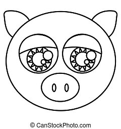 sketch silhouette face cute pig animal with big eyes