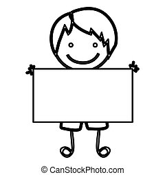 sketch silhouette front view cartoon boy with banner