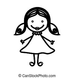 sketch silhouette front view girl with hair pigtails
