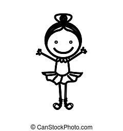 sketch silhouette girl ballet dancer