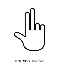 sketch silhouette hand showing two fingers icon
