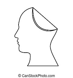 sketch silhouette head human with fold icon
