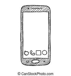 Sketch smartphone. The phone is isolated on a white background. Vector