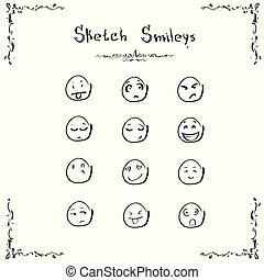 Sketch Smileys Faces Emotion Concept Set Collection