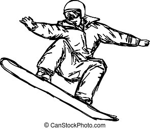 sketch snowboarder vector illustration sketch hand drawn with black lines, isolated on white background