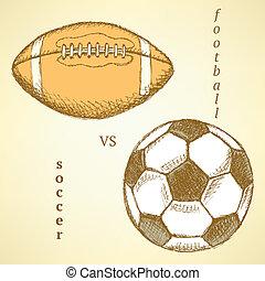 Sketch soccer versus american football ball