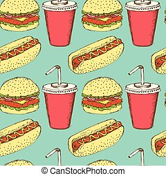 Sketch soda, hamburger and hot-dog in vintage style