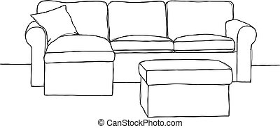 Sketch sofa with pouf isolated on white background. Vector