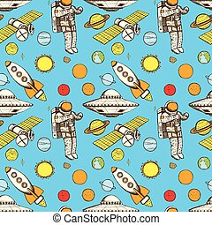 Sketch space in vintage style,  seamless pattern
