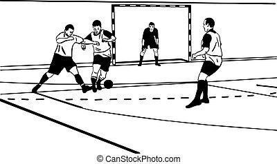 sketch sporsmeny play football in the gym
