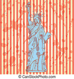Sketch statue of liberty, vector background - Sketch statue...