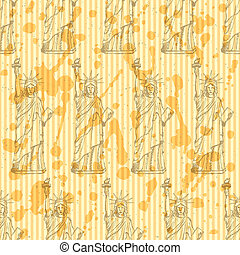 Sketch statue of liberty, vector  seamless pattern