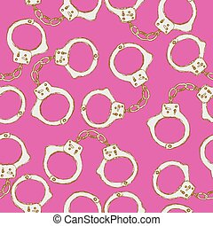 Sketch steel handcuffs in vintage style, vector seamless...