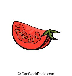 Sketch style drawing of ripe red tomato slice