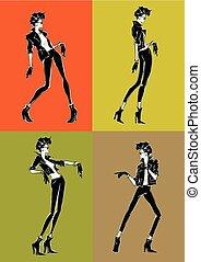 sketch-style, fondo., ragazza, moda, colorito