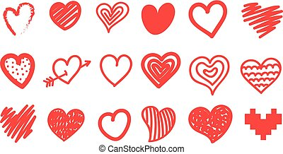 Sketch style hearts collection isolated on white