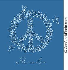 Sketch style peace dove symbol blue background EPS10 file. -...