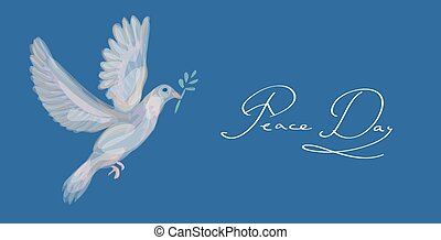 Sketch style peace dove symbol blue background EPS10 file. -...