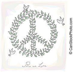 Sketch style peace dove symbol texture background EPS10...