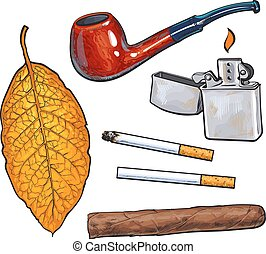 Sketch style smoking pipe, lighter, cigar, cigarettes and tobacco leaf