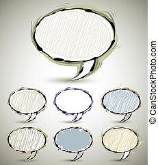 Sketch style speech bubble.