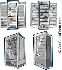 Sketch style Vector of Server Rack. Color scheme.