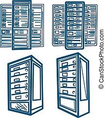 Sketch style Vector of Server Rack. Outline version.