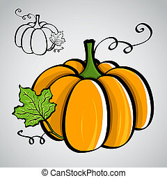Sketch style vegetables - pumpkin. Silhouette and colored...