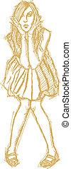 Sketch surprised blonde in dress