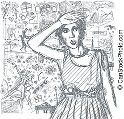 Sketch Surprised Girl Looking For Something Against Love Story Background