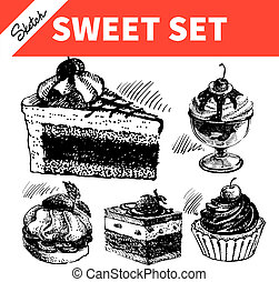 Sketch sweet set. Hand drawn illustrations of cake and ice...