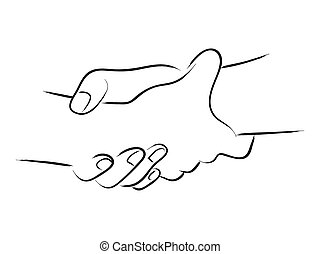 Friendship. Line art of two hands holding each other ...Drawings Of Hands Holding Each Other