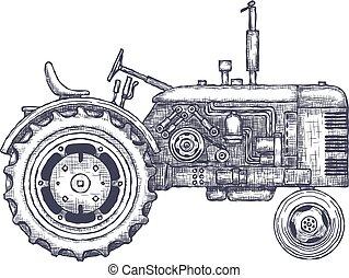 sketch., szüret, traktor, vektor, mezőgazdasági, húzott, kéz