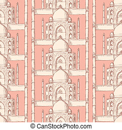 Sketch Taj Mahal, vector seamless pattern