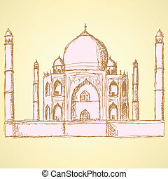 Sketch Taj Mahal, vector vintage background