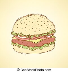 Sketch tasty hamburger in vintage style